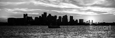 Boston Skyline Panoramic Photograph - Boston Skyline Panorama Black And White Photo by Paul Velgos