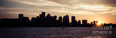 Boston Skyline Panoramic Photograph - Boston Skyline Panorama Sunset Picture by Paul Velgos