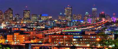 Boston Skyline Panoramic Photograph - Boston Skyline Panoramic At Night by Joann Vitali