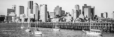 Boston Skyline Panoramic Photograph - Boston Skyline Panoramic Black And White Photography by Paul Velgos