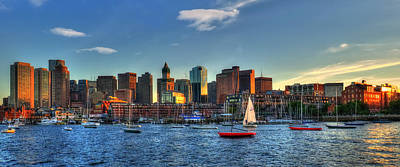 Boston Skyline Panoramic - Boston Harbor Art Print by Joann Vitali