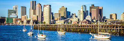 Boston Skyline Panoramic Photograph - Boston Skyline Panoramic Picture Of Boston Harbor by Paul Velgos