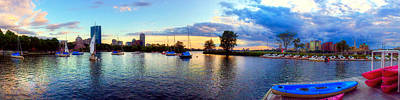 Charles River Photograph - Boston Skyline Panoramic Sunset by Joann Vitali