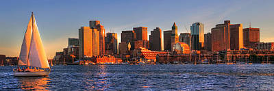 Photograph - Boston Skyline Panoramic With Sailboat by Joann Vitali