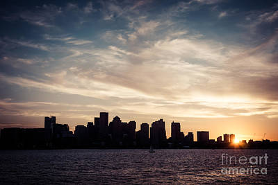 Boston Skyline Photograph - Boston Skyline Picture Vintage Sunset by Paul Velgos