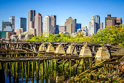 Boston Skyline Picture With Old Ruined Pier Print by Paul Velgos