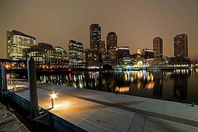 Boston Skyline Pier Reflection Boston Ma Art Print
