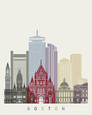 Boston Landmark Painting - Boston Skyline Poster by Pablo Romero