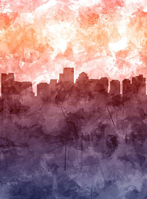 Painting - Boston Skyline Red Watercolor by Bekim Art
