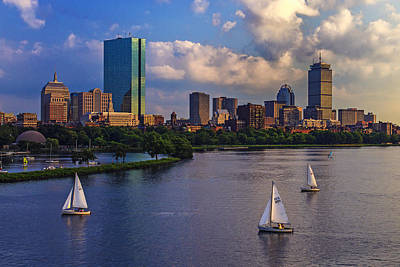 Sunset Sailing Photograph - Boston Skyline by Rick Berk