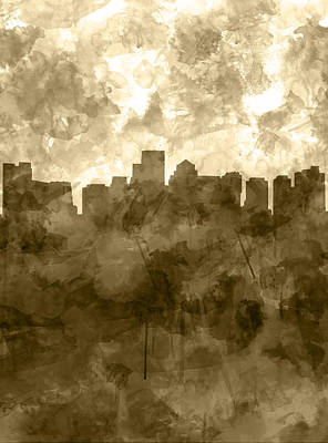Boston Painting - Boston Skyline Sepia Watercolor by Bekim Art