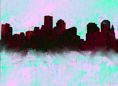 Boston Skyline Sky Blue  Art Print by Enki Art