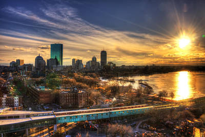 Charles River Photograph - Boston Skyline Sunset And The Redline by Joann Vitali