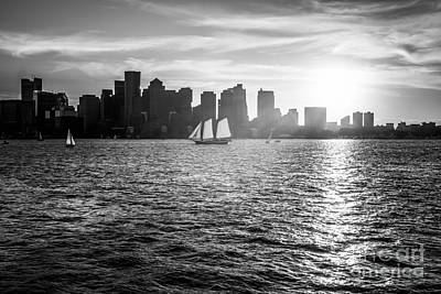 Boston Skyline Sunset Black And White Photo Art Print