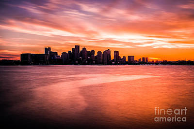 Boston Skyline Sunset Colorful Orange Sky Art Print