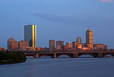 Print featuring the photograph Boston Skyline Sunset by Juergen Roth