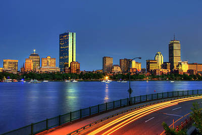 Boston Skyline Sunset Over Back Bay And The Charles River Art Print