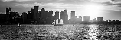 Boston Skyline Sunset Panoramic Black And White Photo Art Print