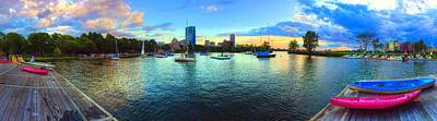 Boston Skyline Sunset Panoramic  Art Print by Joann Vitali