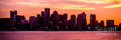 Boston Skyline Panoramic Photograph - Boston Skyline Sunset Panoramic Photo by Paul Velgos