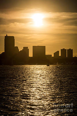 Boston Skyline Sunset Picture Art Print