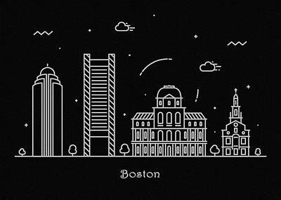Abstract Landscape Drawing - Boston Skyline Travel Poster by Inspirowl Design
