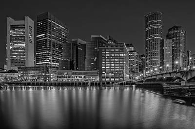 Photograph - Boston Skyline Twilight Bw by Susan Candelario