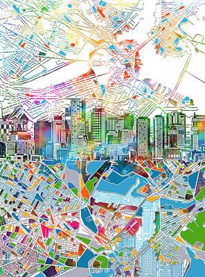 Boston Skyline Painting - Boston Skyline White by Bekim Art