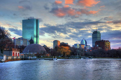 Boston Skyline Winter Sunset Art Print