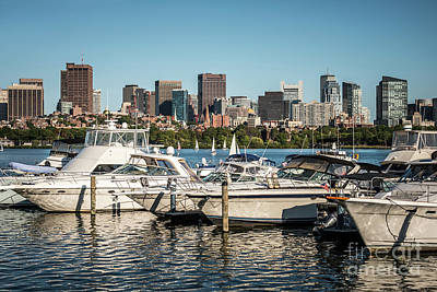 Boston Skyline With Boats Photo Art Print by Paul Velgos
