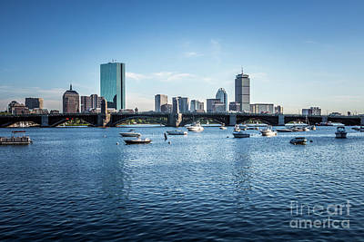 Boston Skyline With The Longfellow Bridge Art Print