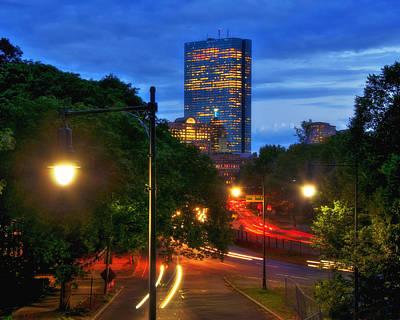 John Hancock Building Photograph - Boston Skyscrapers At Night by Joann Vitali