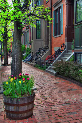 Brick Sidewalks Photograph - Boston South End Row Houses by Joann Vitali