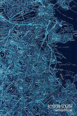 Old Map Digital Art - Boston South Map Year 1944 by Pablo Franchi