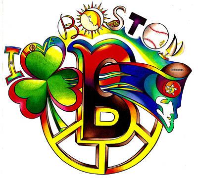 Red Sox Drawing - Boston Sparts by Jonathan 'DiNo' DiNapoli