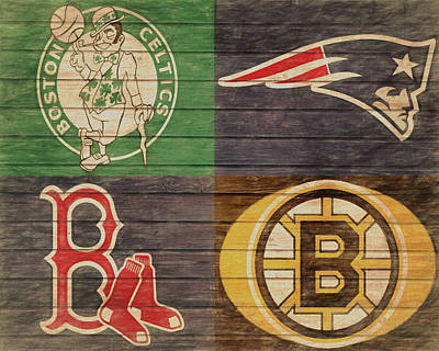 Mixed Media - Boston Sports Teams Barn Door by Dan Sproul