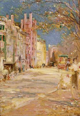Boston Street Scene. Boston Common Art Print by Edward Mitchell Bannister