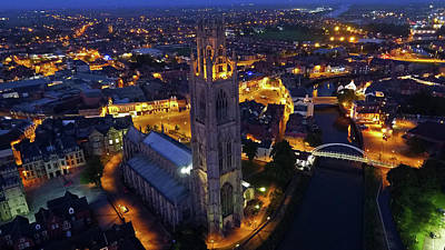St Botolph St Photograph - Boston Stump At Night by TheDroneMan Net
