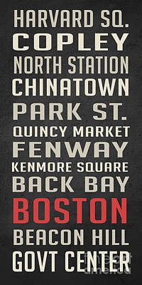 Harvard Wall Art - Digital Art - Boston Subway Stops Poster by Edward Fielding