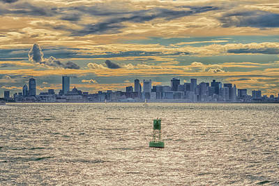 Photograph - Boston Sunset And Buoy by Brian MacLean