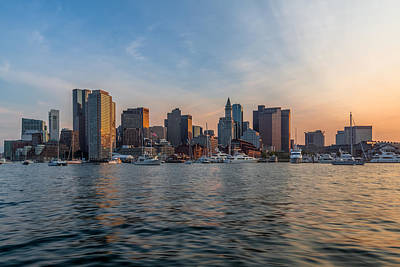 Photograph - Boston Sunset From The Inner Harbor by Brian MacLean
