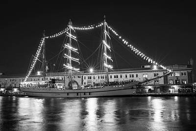 Photograph - Boston Tall Ships At Night Boston Ma Black And White by Toby McGuire