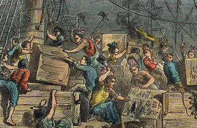 People Drawing - Boston Tea Party by American School