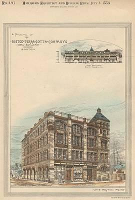 Terra Painting - Boston Terra Cotta Building Boston Ma 1883 by William Preston