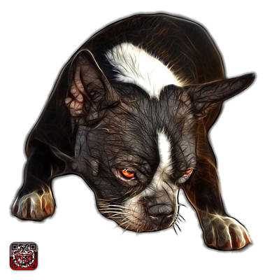 Art Print featuring the digital art Boston Terrier Art - 8384 - Wb by James Ahn