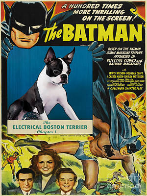 Painting - Boston Terrier Art Canvas Print -  Batman Movie Poster by Sandra Sij
