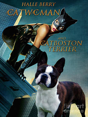Painting - Boston Terrier Art Canvas Print - Catwoman Movie Poster by Sandra Sij