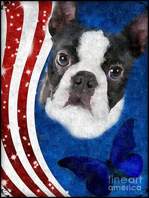Digital Art - Boston Terrier Art by Maria Urso
