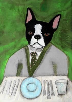 Boston Terrier At A Formal Dinner Art Print
