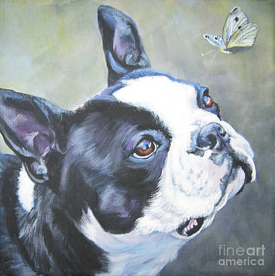 Dog Portrait Painting - boston Terrier butterfly by Lee Ann Shepard